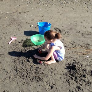 playing on beach