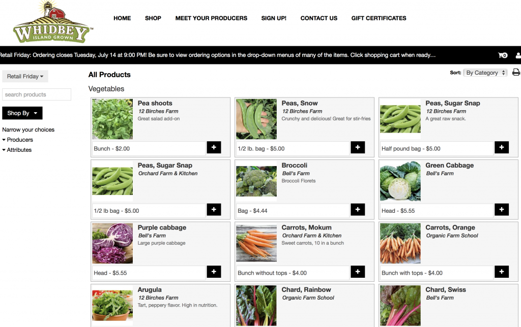 Shop veggies on line